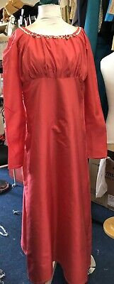Regency Style Pure Coral Silk Gown