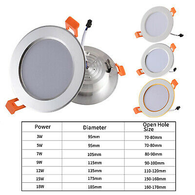 7W 9W 12W 15W 18W  LED Ceiling Recessed Down Light Fixture Lamp Light & Driver