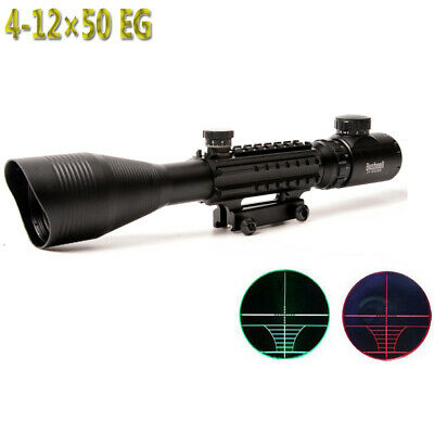 4-12X50EG Rifle Scope Red Green Dual illuminated w/ Side Rails & Mount
