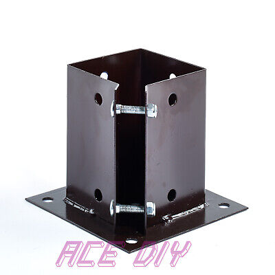 Bolt Down Fence Support Galvanised Brown Square Bolted Post Holder Grip Anchor