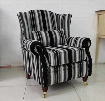 Oberon Fireside Wing Chair Black Grey Stripe Fabric