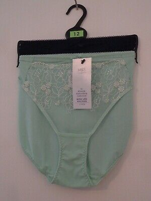 BNWT LADIES M/&S COLLECTION RANGE 2 PACK BRAZILIAN KNICKERS CORAL//NUDE SIZE 18