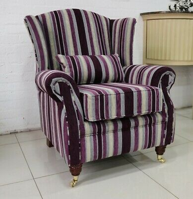 Oberon Fireside Wing Chair Aubergine Stripe Fabric