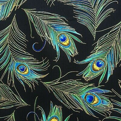 Peacock feather fabric, metallic black gold Japan Chinese Chinoise oriental bird