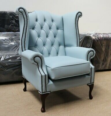 Georgian Chesterfield Queen Anne High Back Wing Chair Parlour Light Blue Leather