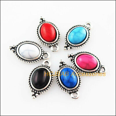 12Pcs Tibetan Silver Tone Oval Flower Mixed Turquoise Charms Pendant 9x16.5mm