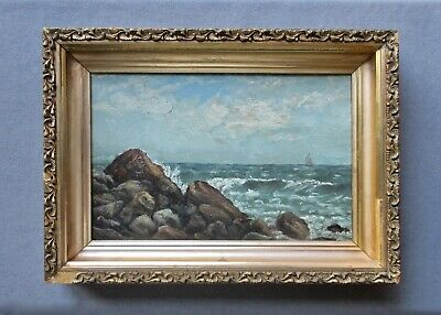 Small Antique 19th Century Oil Seascape Painting
