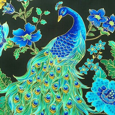 Peacock fabric, metallic black gold green blue, Japanese Chinoise oriental bird