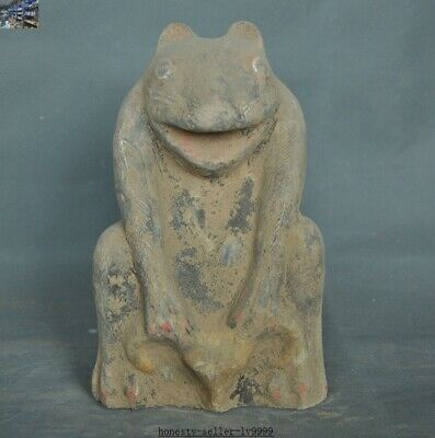 """10"""" Old Chinese Neolithic Hongshan Dadiwan Pottery Feng Shui animal beast statue"""