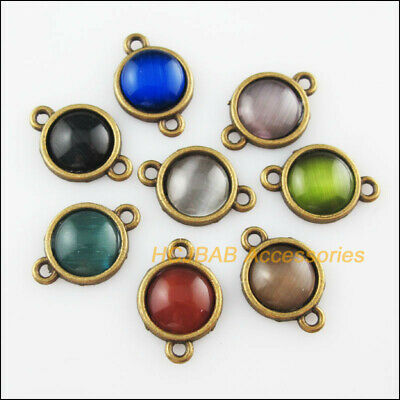 8Pcs Antiqued Bronze Round Mixed CatEye Stone Charms Pendant Connectors 13x19mm