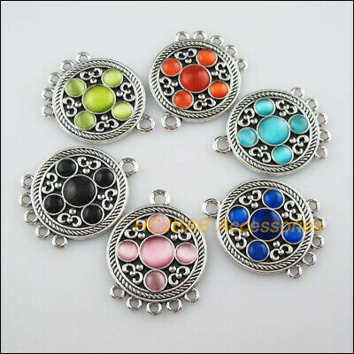 6Pcs Tibetan Silver Round Mixed CatEye Stone Charms Pendant Connectors 31x40.5mm