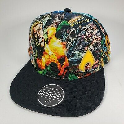 free shipping 2ccd9 1d6e3 Aquaman Sublimated DC Comics Adjustable Snapback Bioworld Hat Cap New With  Tags