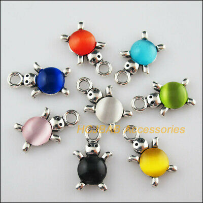 8Pcs Tibetan Silver Animal Tortoise Mixed CatEye Stone Charms Pendant 14x23mm