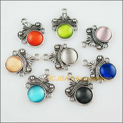 8Pcs Tibetan Silver Flower Mixed CatEye Stone Charms Pendant Connectors 18x23mm