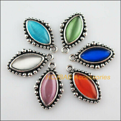 6Pcs Tibetan Silver Oval Eye Mixed CatEye Stone Charms Pendant 14.5x23.5mm