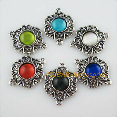 6Pcs Tibetan Silver Flower Mixed CatEye Stone Charms Pendant Connectors 21x28mm