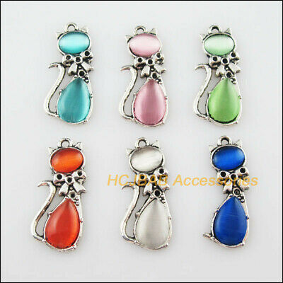 6Pcs Tibetan Silver Animal Cat Mixed CatEye Stone Charms Pendant 13x29mm