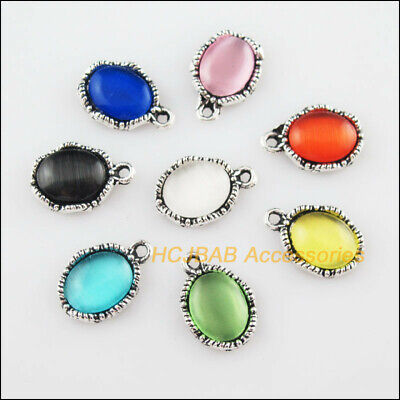16Pcs Tibetan Silver Oval Flower Mixed CatEye Stone Charms Pendant 10.5x15.5mm