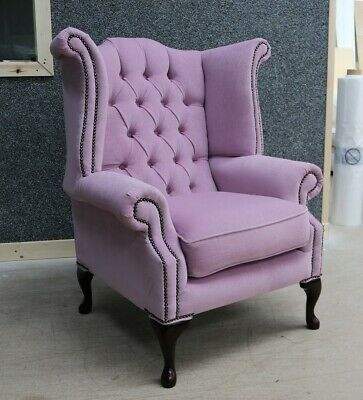 Georgian Chesterfield Queen Anne Buttoned High Back Wing Chair Blush Pink