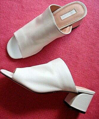 e386d2d34b New TOPSHOP Mules 6.5 US Block Heels Open Toe Sandals White Leather 4 UK -  37