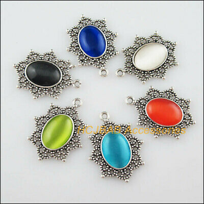 6Pcs Tibetan Silver Flower Mixed CatEye Stone Charms Pendant Connectors 23x29mm