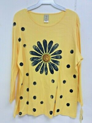 Jess and Jane Happy Days Black White Daisy Floral Flowers Shirt Size New w Tags
