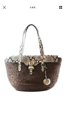 018d1d54bf88 MICHAEL KORS BROWN Naomi braided Bowling Satchel Purse HandBag ...