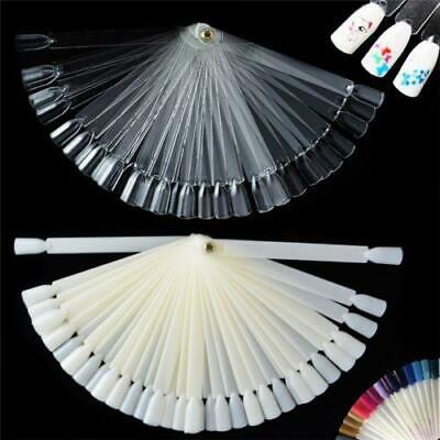 50X False Polish Nail Art Tips Sticks Display Fan Pop Colour Practice Tool UK
