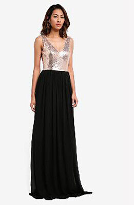d740592f8ce9 Goddiva Rose Gold & Black Sequin Dress Gown Chiffon Long Maxi Evening Prom  UK ❤