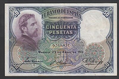 SPAIN LOT 5x 50 PTAS 1931 LOW START VF CONDITION