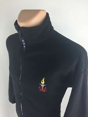 OLYMPICS Graphic Logo Full Zip Up Black Athletic Fleece Jacket Men's Size XL