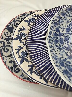 4 Vintage China Mismatched Blue & White Transferware Salad Luncheon Plates #153
