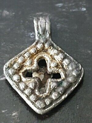 Viking Gilt Silver Pendant with Cross  8th-9th century AD rare pendant