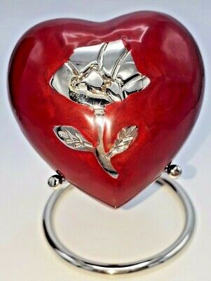 STAND INCLUDED - Beautiful Heart Keepsake Urn for Ashes - Red with Rose
