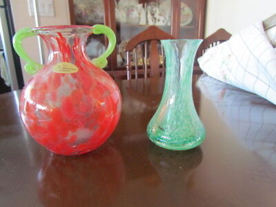 Vintage Venetian Murano Italian Art Glass Vases hand Blown Lot Red Green excell
