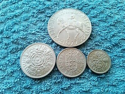 4 X Elizabeth II Pre Decimal Coins - Crown, Florin, Shilling & Sixpence