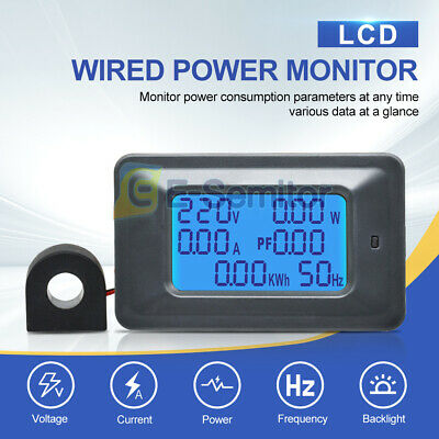 6in1 100A AC 110-250V Current Digital LCD Panel Power Monitor Ammeter Voltmeter