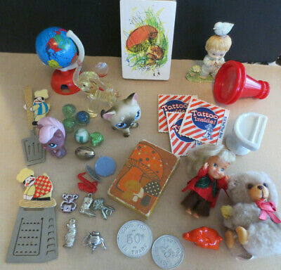 VINTAGE JUNK DRAWER TOY LOT Assorted Mini Dolls, Figures 1980's-90's