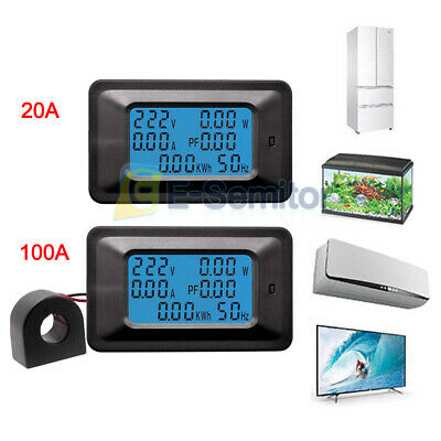 6 IN 1 Digital AC Voltage Meter 100A/20A 110-250V Energy Meter Ammeter LCD Panel