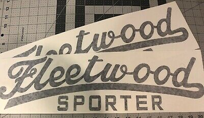 "Fleetwood Sporter Vintage style Canned Ham Trailer decals 20"" set 2 Black"