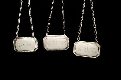 Decanter Sterling Tags (Brandy, Bourbon, Scotch)