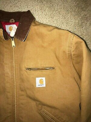 1b1a9c09a44e6 Carhartt USA Made Duck Canvas Quilt Lined jacket Corduroy Collar Mens Size  48 L