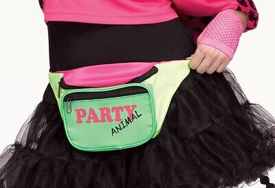Retro 80's Fanny Pack Neon Costume Accessory Party Animal Pink Green Yellow