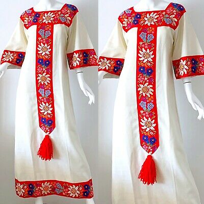 63338758afd 70s Vintage Mexican Caftan Dress Floral Embroidered Boho Hippie Kimono Maxi  Med