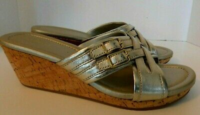 408ae91f8b Women's Size 8 COLE HAAN Gold Metallic Leather Open Toe Slide Wedge Sandals