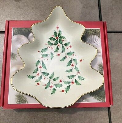 Lenox Holiday Christmas Tree Candy Dish Green Green Holly Red