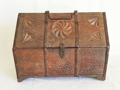 Antique Wood Treasure Storage Lock Box Chest