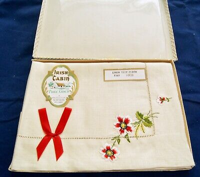 "Vintage Boxed Irish Cabin Pure Linen Tray Cloth 14"" x 20"""