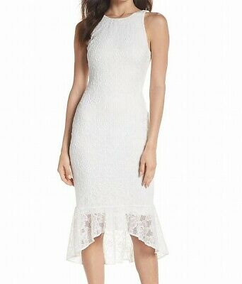 be8fb4896a Ali & Jay NEW White Womens Size Medium M Lace Ruffled Sheath Dress $148- 062