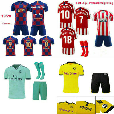 19/20 Kids Boys Football Kits Soccer Suits Jersey Strip Sports Outfit For 3-14Y